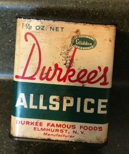 Old 1950s Durkee's AllSpice Tin