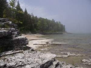 Beach and shoreline with limestone