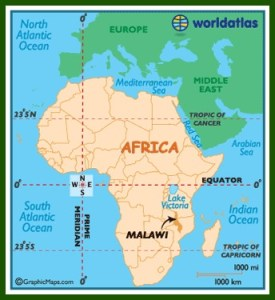 Malawi on the continent of Africa