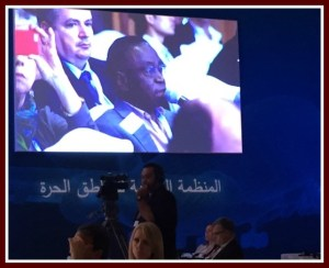 Clem on screen at Dubai Free Zones Conference
