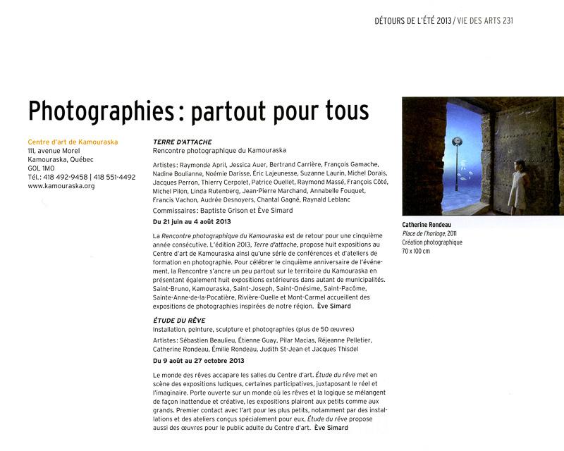 Expo photo annoncée dans la revue Vie des arts.