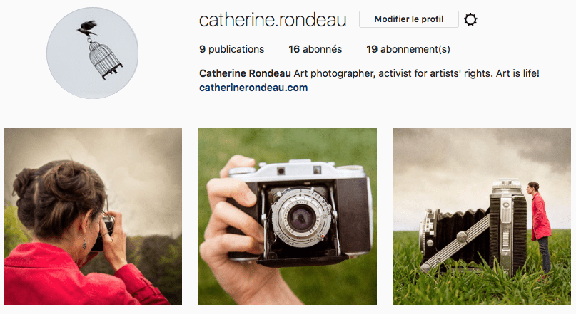 Screenshot of Montreal artist photographer Instagram account