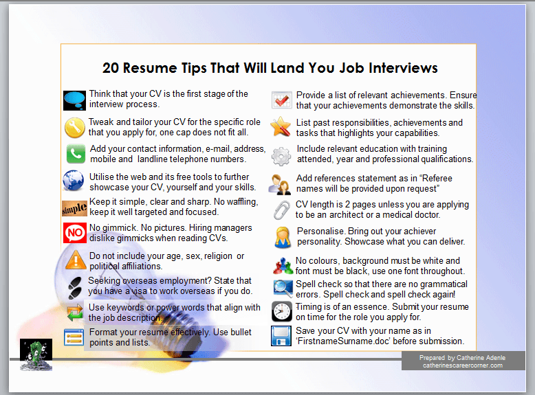 20 winning CV Tips by Catherine Adenle