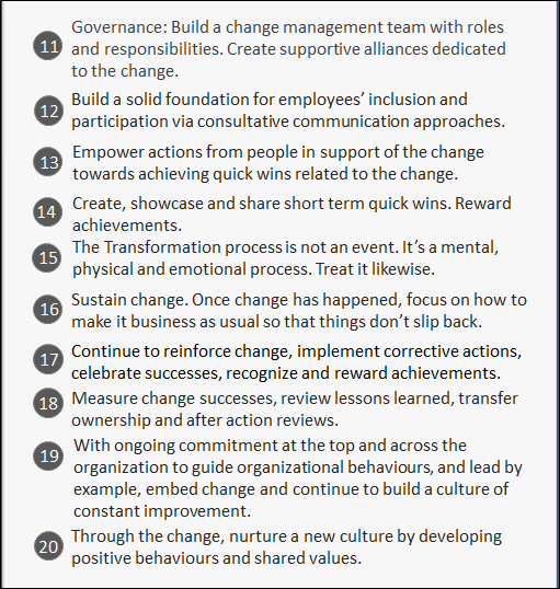20 Rules of Successful Change Management 2
