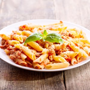 home delivered menu penne bolognese