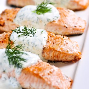 home delivered menu poached salmon