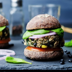 home delivered meals - black bean burgers