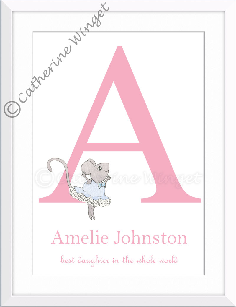 Ballet Dancing Mouse Custom Name Art Catherine winget www.catherinewinget.com