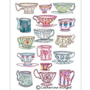 Fine Art Giclee Print Teacups