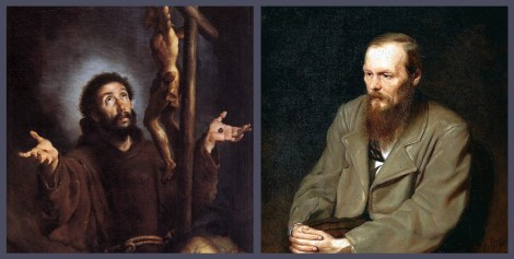 St. Francis of Assisi (left) and Fyodor Dostoyevsky (right)