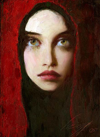 Painting by Taras Loboda via http://www.tuttartpitturasculturapoesiamusica.com/2012/09/Lady-in-Red.html