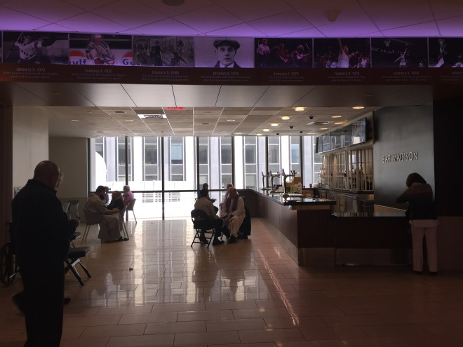 "Celebrating the sacrament of reconciliation (aka ""confession"") in an empty bar at New York City's Madison Square Garden before the papal mass, 9/25/15. Photo by Cathleen Falsani/Sojourners."