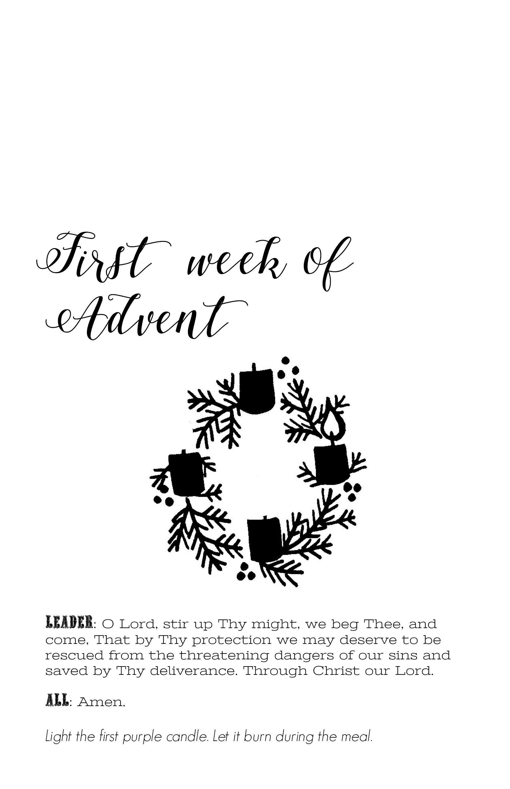 Advent Wreath Prayers Printable Booklet Digital Download