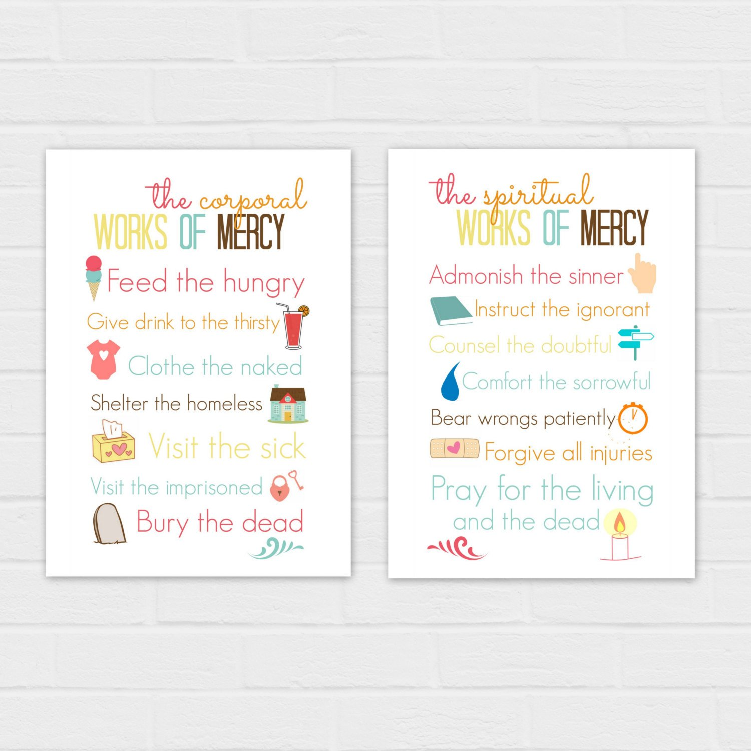 Corporal And Spiritual Works Of Mercy Holy Cards Digital