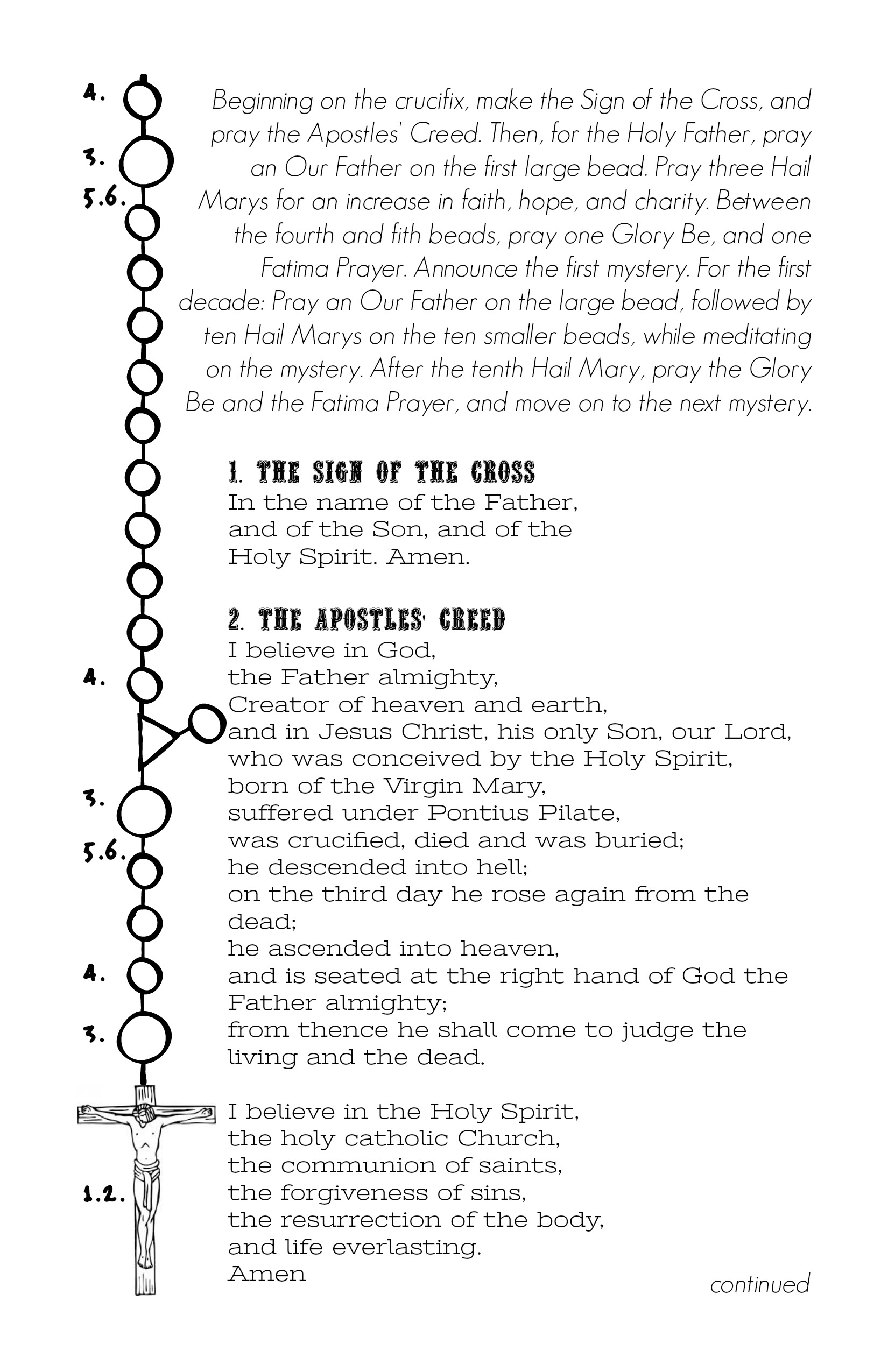 Rosary Prayers And Instructions Printable Booklet Digital