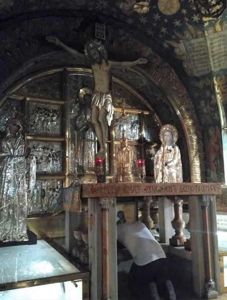 Golgatha, spot of the crucifixion, in the Church of the Holy Sepulchre