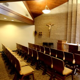 Chapel with new chairs.