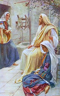 Jesus at the home of Marth and Mary by Harold Copping Public Domain Image