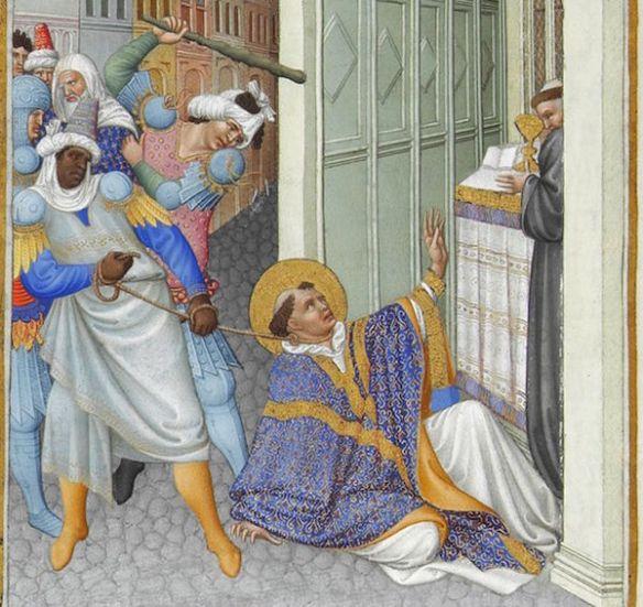 The martyrdom of Saint Mark. Très Riches Heures du duc de Berry (Musée Condé, Chantilly), c. 1412 and 1416