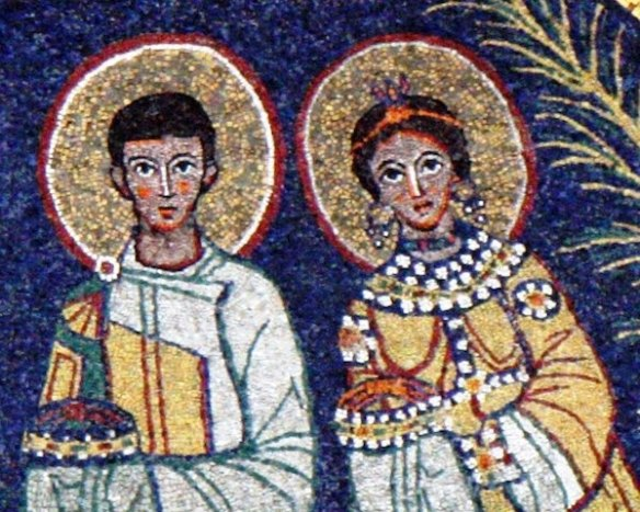 Saints Valerian and Cecilia in a 9th-Century apse mosaic (source)