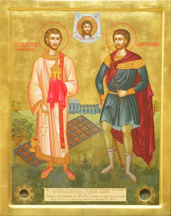 Saints Lawrence and Romanus, Icon by Tatiana Grant (source)