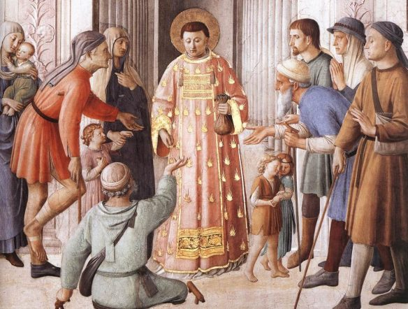 Saint Lawrence distrutes money to the poor, by Fra Angelico