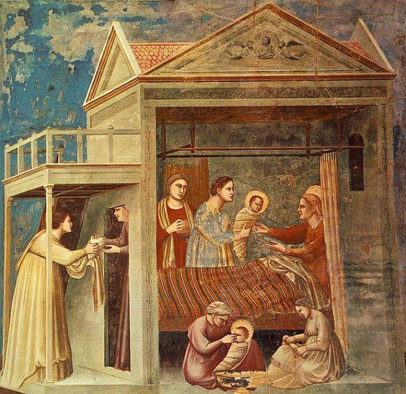 The Birth of the Virgin, by   Giotto (1266–1337),  Cappella degli Scrovegni (source)