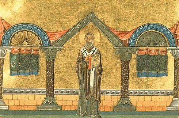 Saint Eulogius of Alexandria, from the Menologion of Basil II (source)