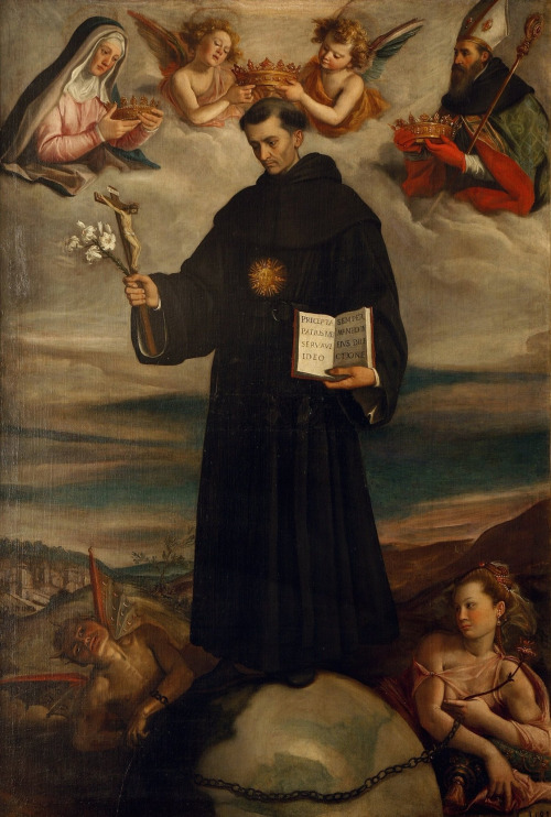 Saint Nicholas of Tolentino in Glory with the Blessed Virgin and Saint Augustine by Santi di Tito