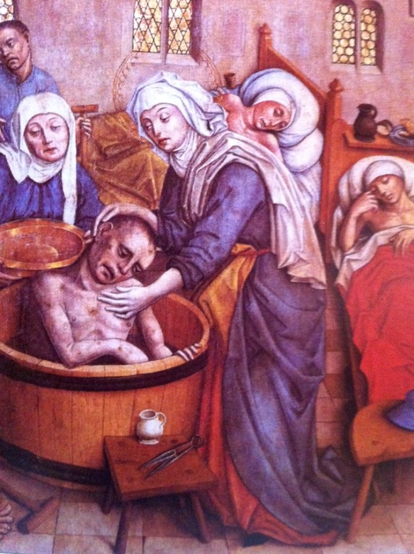 St. Elizabeth washing a sick man a scene from the main altar of St. Elisabeth Cathedral in Kassa, 15th century, By Of - Own work, CC BY-SA 3.0, Link