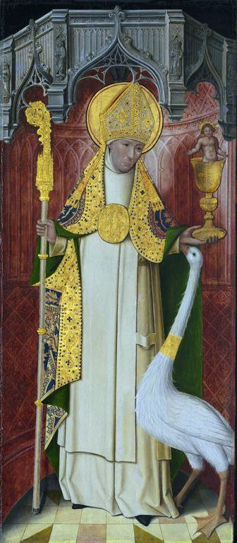 Altarpiece from the Carthusian monastery of Saint-Honoré, Thuison-les-Abbeville, France, depicting Saint Hugh of Lincoln with his swan (source)