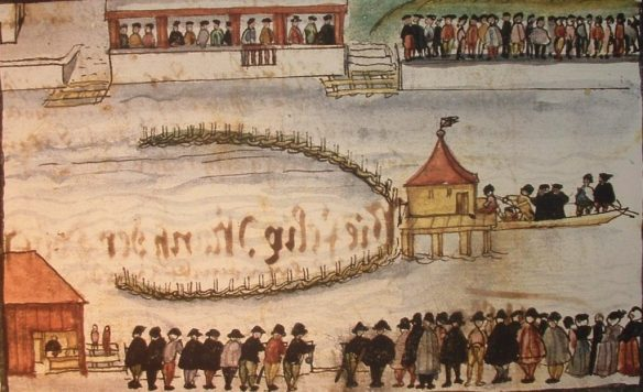 The execution by drowning of Anabaptist Felix Manz, 1527 — executed by fellow Protestants (source) http://www.executedtoday.com/tag/protestant/page/2/
