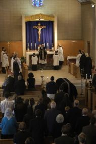 In place of the Ite Missa Est, Father Lamothe dismisses the congregation with these words proper to the Requiem Mass.