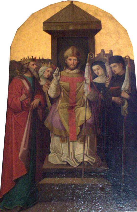 Photo in St. Willibald Church in Deining by DALIBRI. The family of Saints: the parents, St. Richard the Pilgrim, St. Wuna and their children, St. Willibald, seated, St. Walburga and St. Winibald on the right (source)