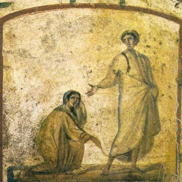Fresco, Catacomb of Sts. Marcellinus and Peter, Rome, early 4th Century showing the haemorrhissa being healed by touching Christ's garment (Mk 5:25–34)
