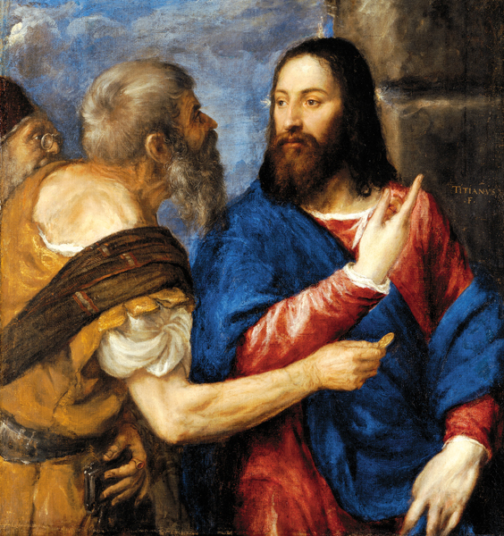 "Jesus and Saint Peter, from ""The Tribute Money""(ca. 1560-8) by Titian (source, CC BY-NC-ND 4.0)"