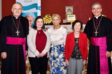 Apostolic Nuncio Archbishop Charles Brown and Bishop Leo O'Reilly of Kilmore with Kilmore Diocesan youth ministry team