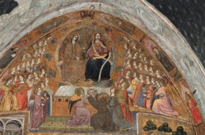 St Francis contemplates apparition of Jesus and Virgin (1393), altarpiece by Prete Iliario, Portiuncula, Basilica of St Mary of Angels, Santa Maria degli Angeli, Assisi (UNESCO World Heritage List, 2000), Umbria, Italy