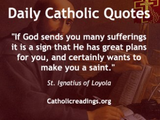 """If God sends you many sufferings it is a sign that He has great plans for you, and certainly wants to make you a saint."" St. Ignatius of Loyola"