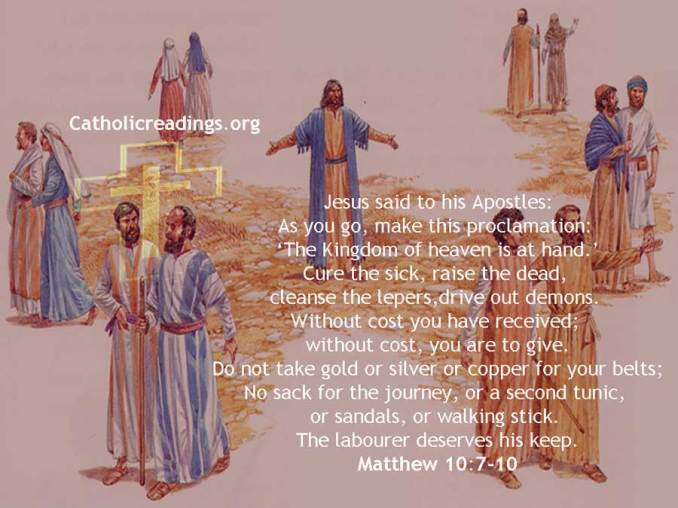 Without Cost You Have Received; Without Cost, You Are to Give - Bible Verse of the Day - Matthew 10:7-10