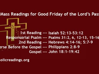 Good Friday Readings and Homily for Friday of the Lord's Passion