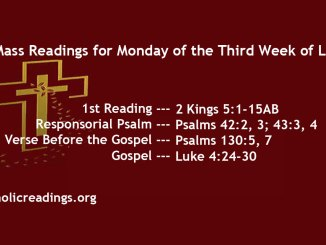 Monday of the Third Week of Lent