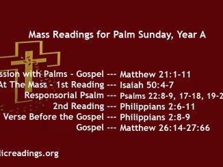Palm Sunday Mass Readings, Year A
