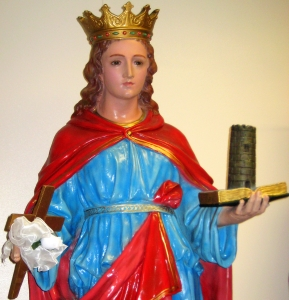 statue of Saint Agrippina of Mineo in the Saint Leonard of Port Maurice Church, Boston, Massachusetts; photographed by Closedmouth on 21 February 2009; swiped off Wikimedia Commons