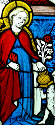 stained glass window of Saint Dorothea of Caesarea, c.1450, Upper Rhine; swiped from Wikimedia
