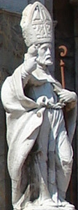 statue of Saint Pancras of Taormina at the main entrance to the Church of San Pancrazio, Taormina, Sicily; photo taken by Giovanni Dall'Orto, on 9 September 2006; swiped off Wikipedia