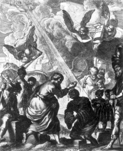 detail of the engraving 'Saint Philip Baptizing the Eunuch of Candace' by Claude Vignon, 1638, Bibliothèque Nationale, Paris, France