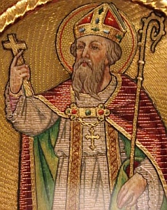 image of Saint Rumbold on a chasuble in the Basilica of Our Lady of Hanswijk, Mechelen, Belgium; taken by JKW on 21 May 2009; swiped off Wikipedia