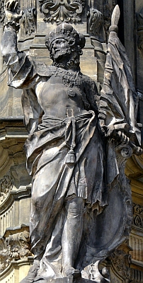 statue of Saint Wenceslaus I, Duke of Bohemia on the Holy Trinity Column in Olomouc, Czech Republic; photographed by Michal Manas; swiped off the Wikipedia web site