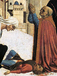 detail from 'Saint Zenobius Performs a Miracle' by Veneziano Domenico, c.1445, tempera on wood, Fitzwilliam Museum, Cambridge, England